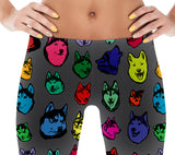 Siberian Husky Dog Art Illustration Pattern on Leggings - Colorful, Bright – Made in America