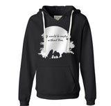 Life is Would Be Empty Without Woo - Metallic Print on Black Ladies VNeck Hoodie - Siberian Husky - Alaskan Malamute