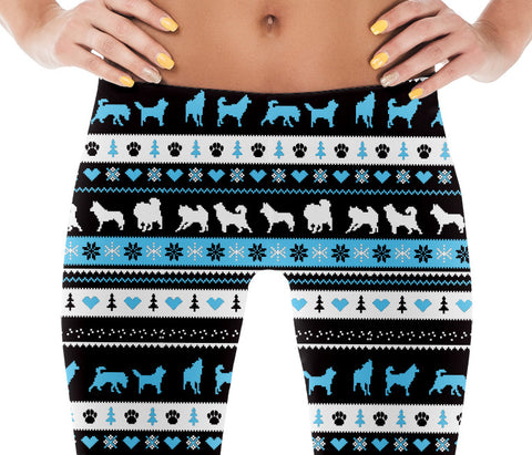 Siberian Husky & Alaskan Malamute Ugly Sweater Dog Photo Pattern on Leggings - Huskies – Made in America