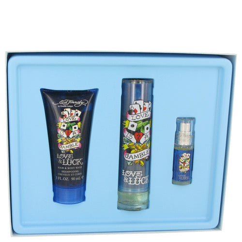 Ed Hardy Love & Luck by Christian Audigier 3 Piece Gift Set for Men