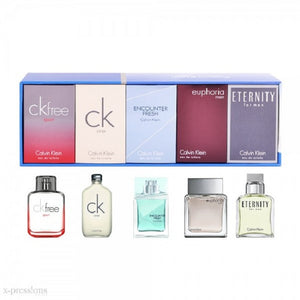 Calvin Klein 5 Piece Mini Set for Men: CK Free + Eternity + Euphoria + Encounter Fresh + CK One