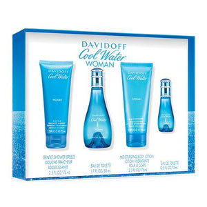 Cool Water by Davidoff 4 Pieces Gift Set For Women