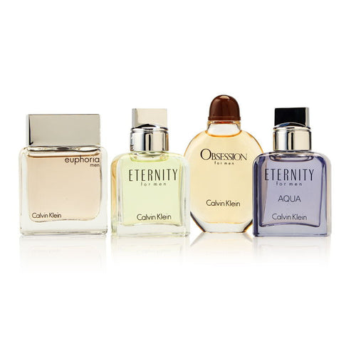 Calvin Klein Mini Set/calvin Klein 4 PC. SET (M) Eternity MEN EDT Mini 0.5 OZ Eternity Aqua EDT 0.5 OZ Euphoria FOR MEN EDT Mini 0.5 OZ Obsession EDT Mini 0.5 OZ IN Display BOX - GetYourPerfume.com