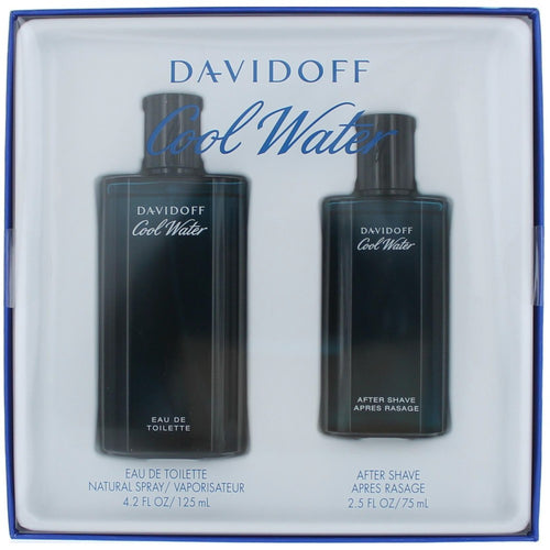 Davidoff David Off Cool Water by Davidoff 4.2 oz Eau de Toilette Spray -2.5 oz after Shave Balm 2pcs. Gift set for Men - GetYourPerfume.com