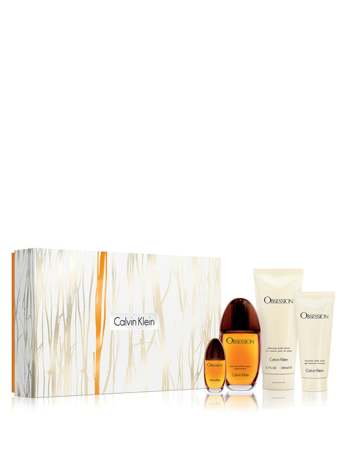 Calvin Klein Obsession by Calvin Klein SET Value $168  EDP Spray 3.4 OZ EDP Spray 0.5 OZ Body Lotion 6.7 OZ Shower GEL 3.0 OZ for Women - GetYourPerfume.com