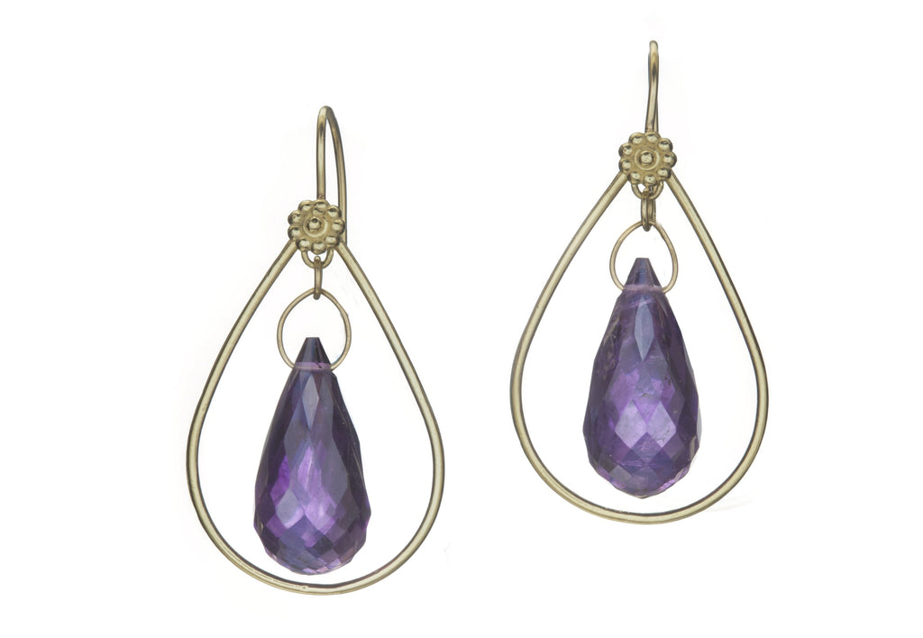 Large Amethyst & Yellow Gold Shruti Earrings