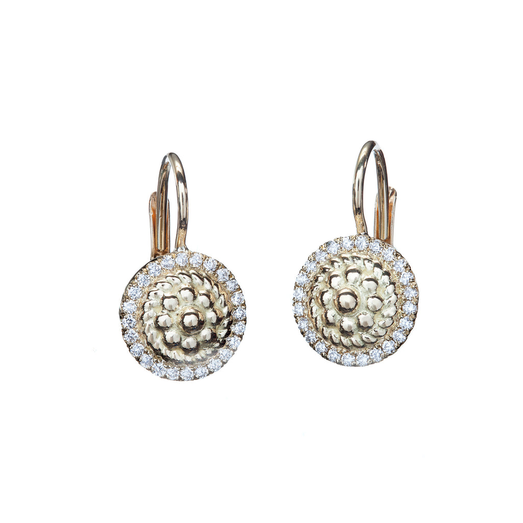 Diamond & Yellow Gold Flower Twist Lever Back Earrings