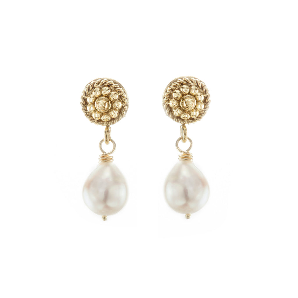 Pearl & Yellow Gold Flower Twist Earrings