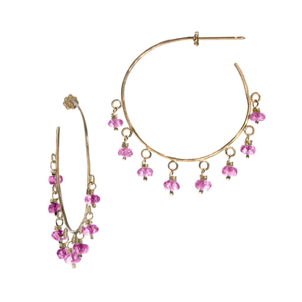 Pink Sapphire & Yellow Gold Robin Hammered Hoop Earrings
