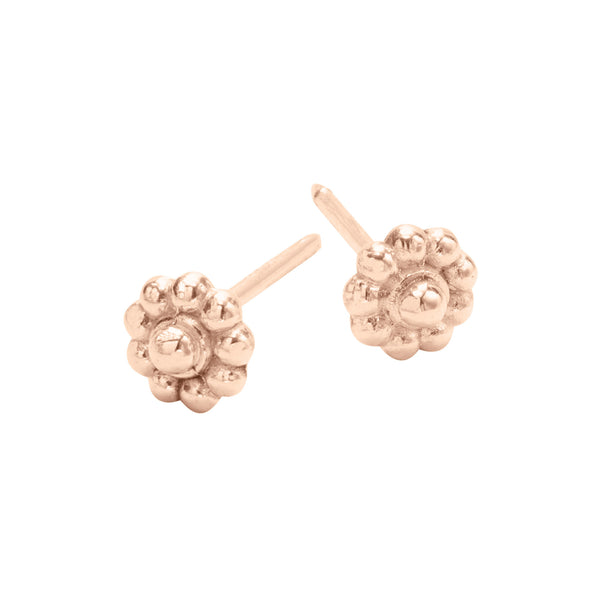 Rose Gold Rosette Stud Earrings