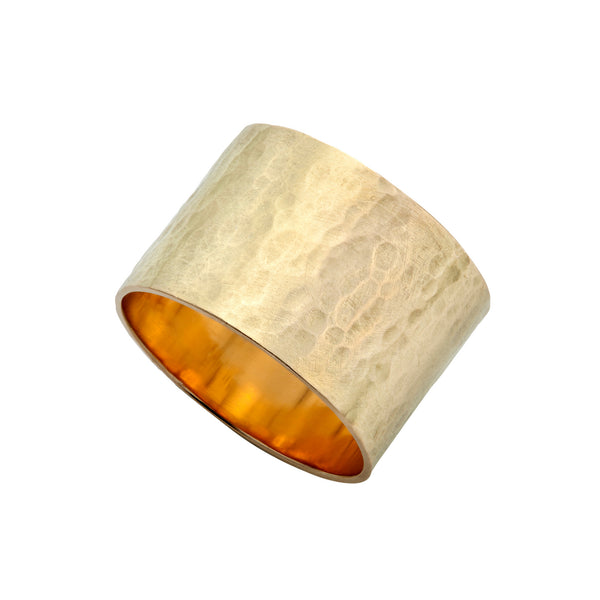 Yellow Gold Tall Hammered Ring