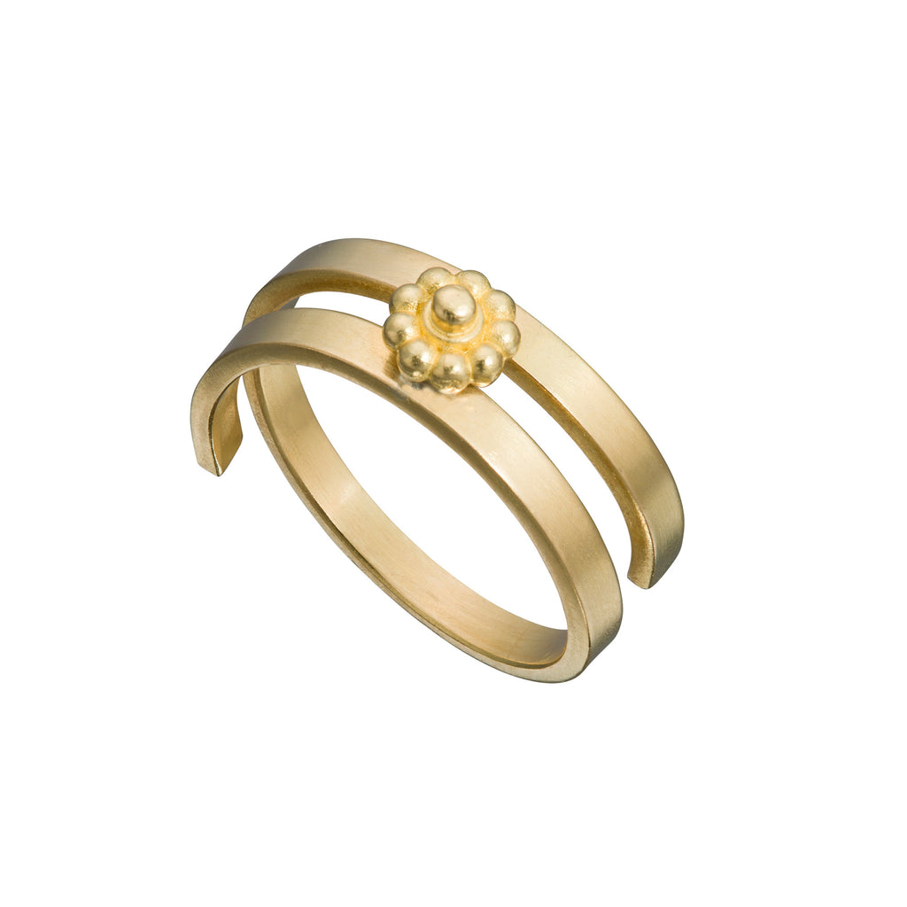 Yellow Gold Double Coil Rosette Ring