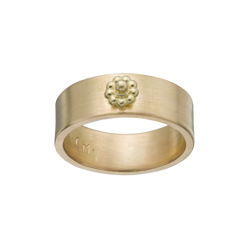 Yellow Gold Wide Rosette Ring