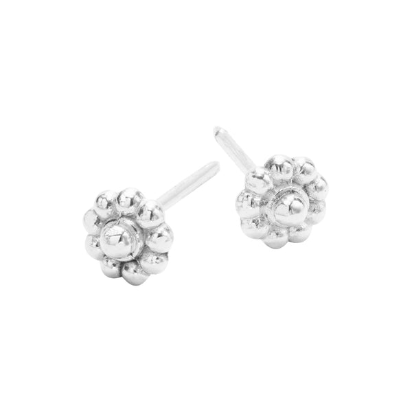 Silver Rosette Stud Earrings
