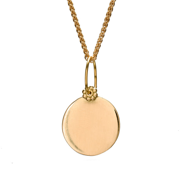 Yellow Gold Circle Charm Necklace