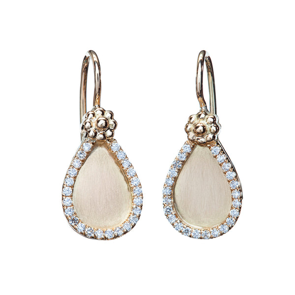 Diamond & Yellow Gold Satin Tear Drop Earrings