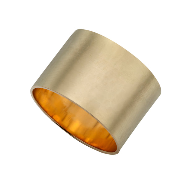 Yellow Gold Tall Satin Ring