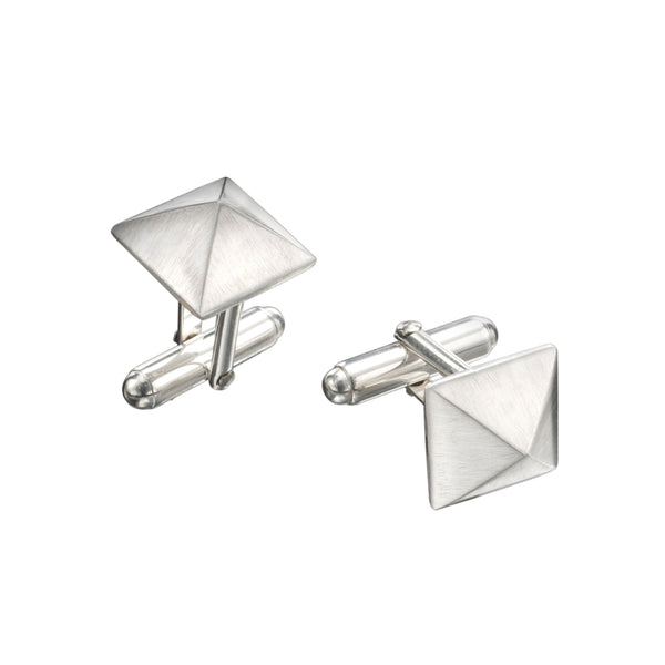 Silver Pyramid Cuff Links