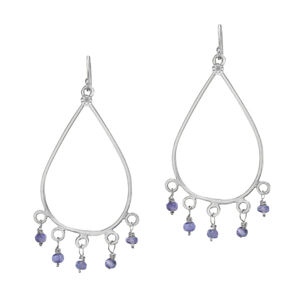 Amethyst & Silver Taj Earrings