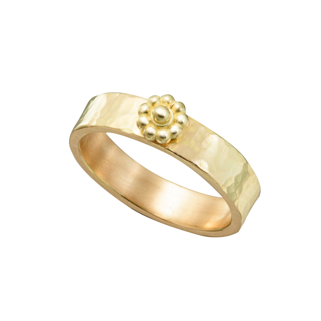 Yellow Gold Hammered Rosette Ring