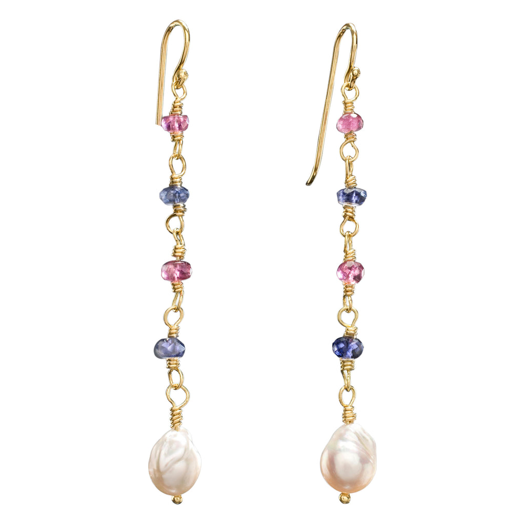 Iolite, Tourmaline, Pearl & Yellow Gold Lexington Earrings
