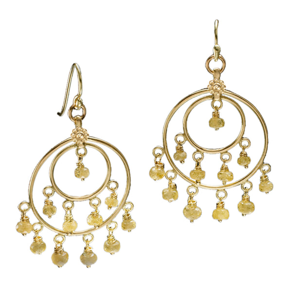 Yellow Beryl & Yellow Gold St Tropez Earrings