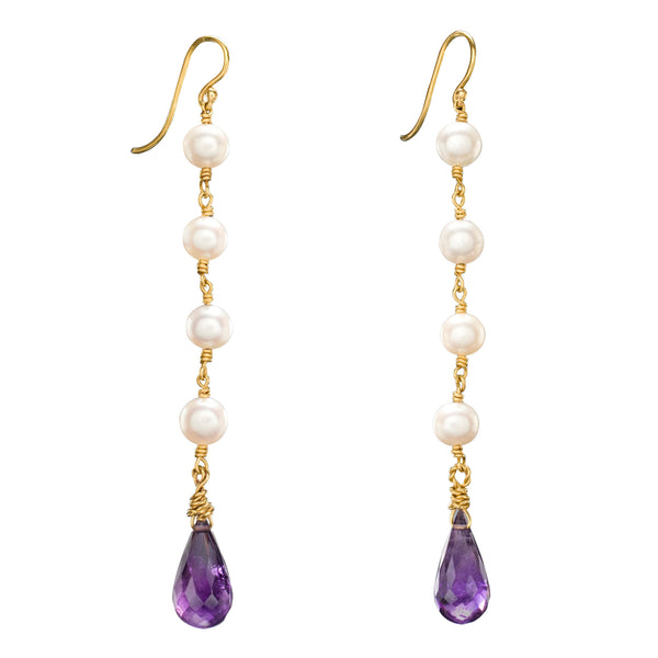 Pearl, Amethyst & Yellow Gold Charlotte Earrings