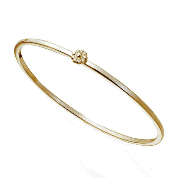 Yellow Gold Rosette Bangle Bracelet