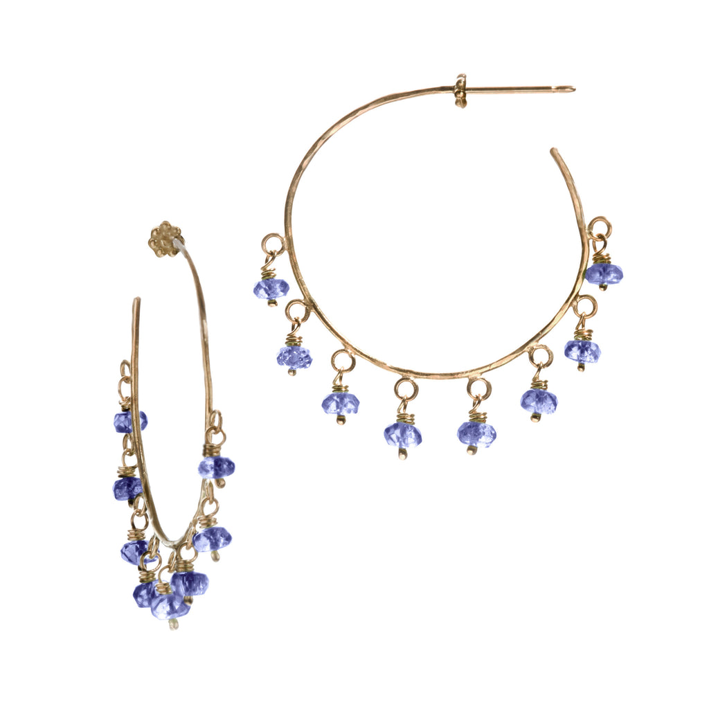 Blue Sapphire & Yellow Gold Robin Hammered Hoop Earrings