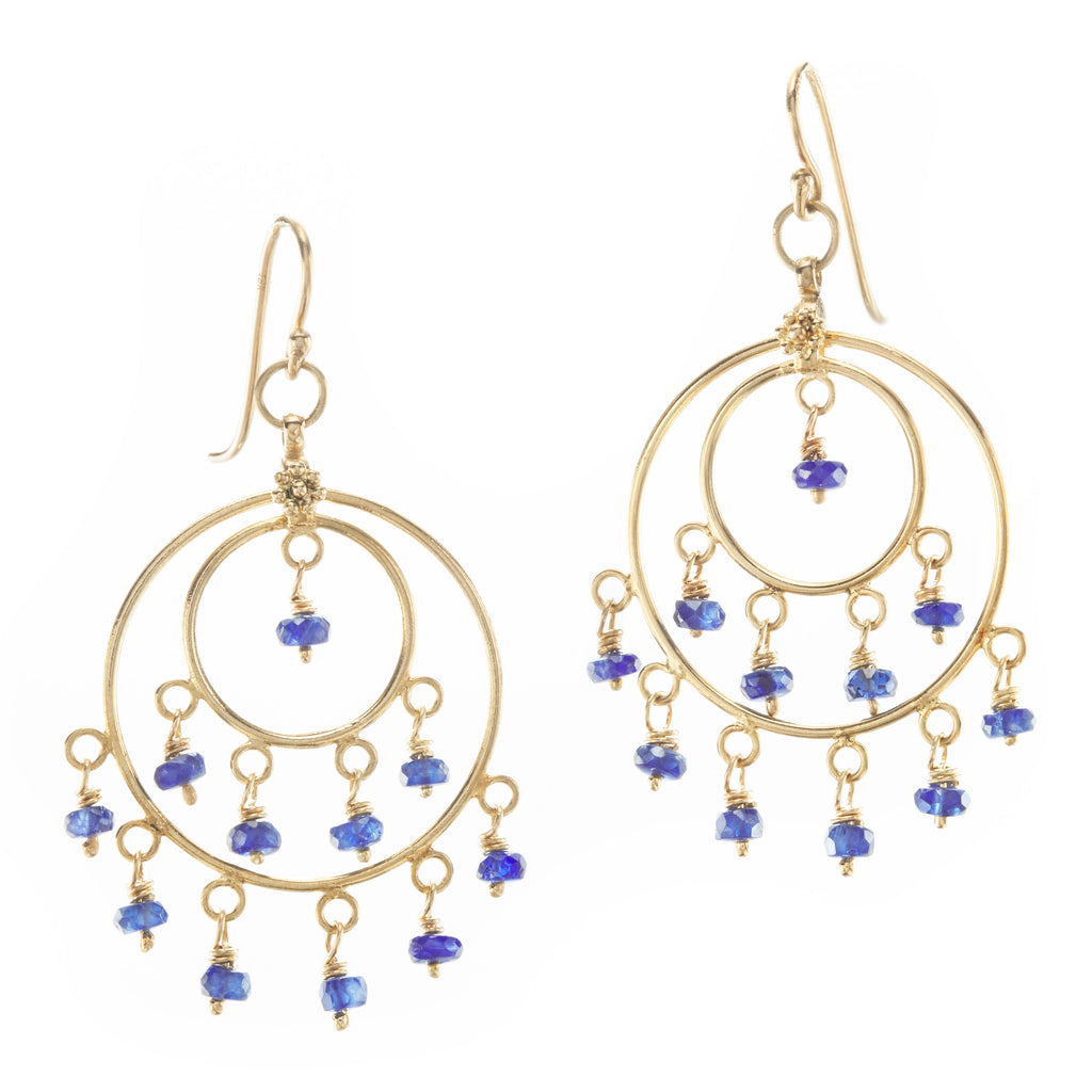 Blue Sapphire & Yellow Gold St Tropez Earrings