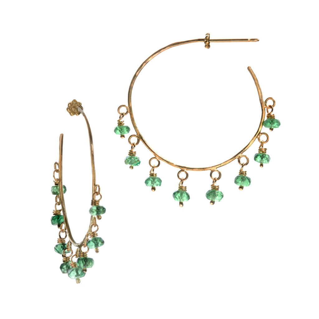 Tsavorite & Yellow Gold Robin Hammered Hoop Earrings