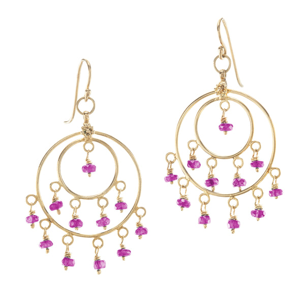 Pink Sapphire & Yellow Gold St Tropez Earrings