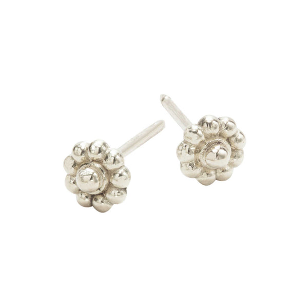 White Gold Rosette Stud Earrings