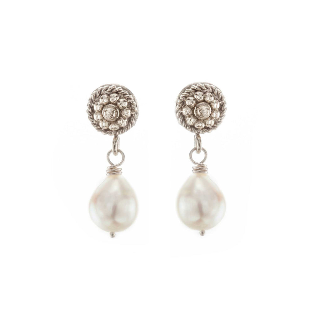 Pearl & White Gold Flower Twist Earrings
