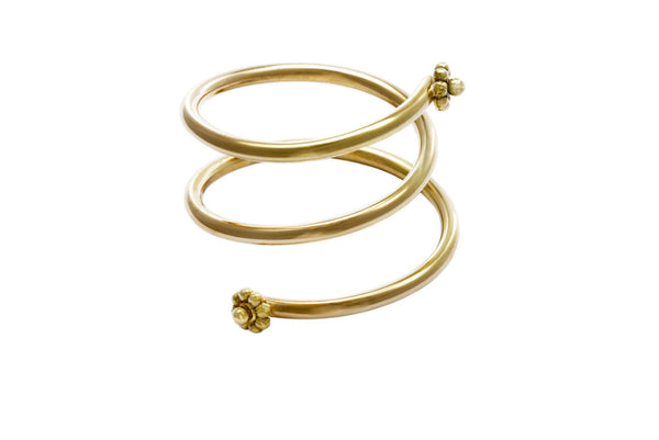 Yellow Gold Coil Ring With Rosettes