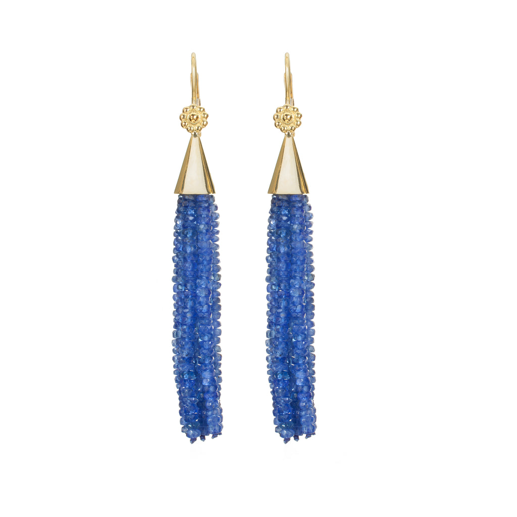 Sapphire & Yellow Gold Tassel Earrings