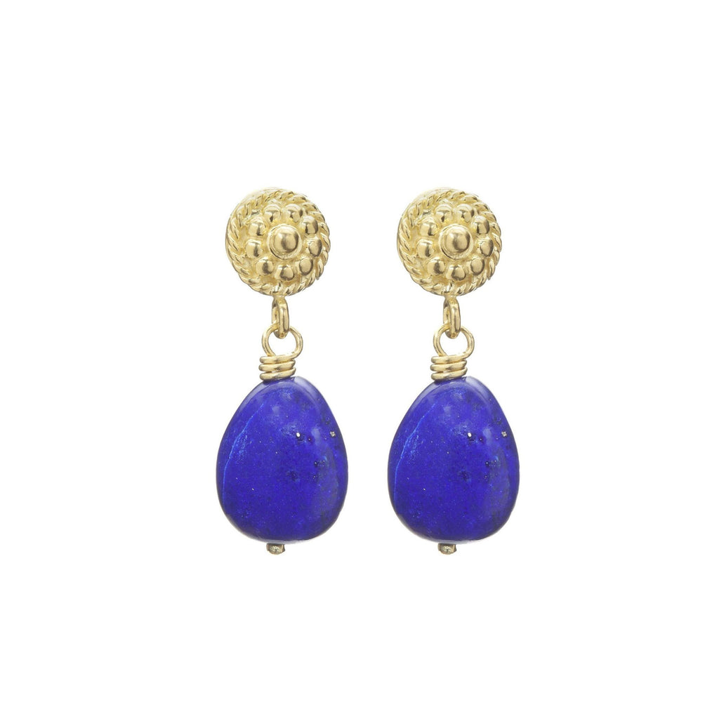 Lapis Lazuli & Yellow Gold Flower Twist Earrings