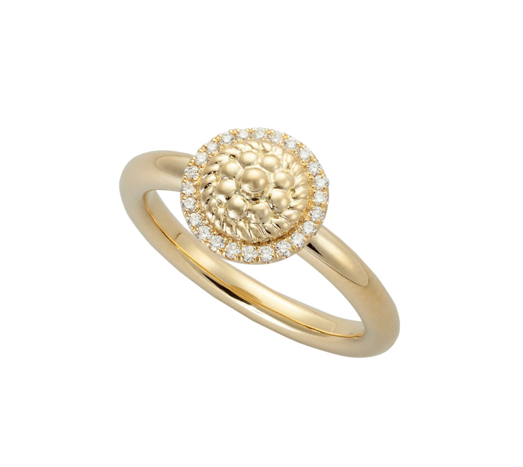 Flower Twist Ring with Diamonds