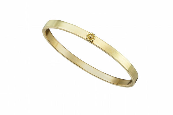 Yellow Gold Rosette Thick Bangle Bracelet