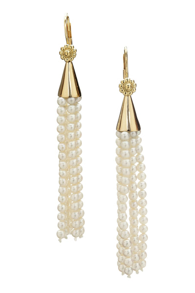 Pearl & Yellow Gold Tassel Earrings