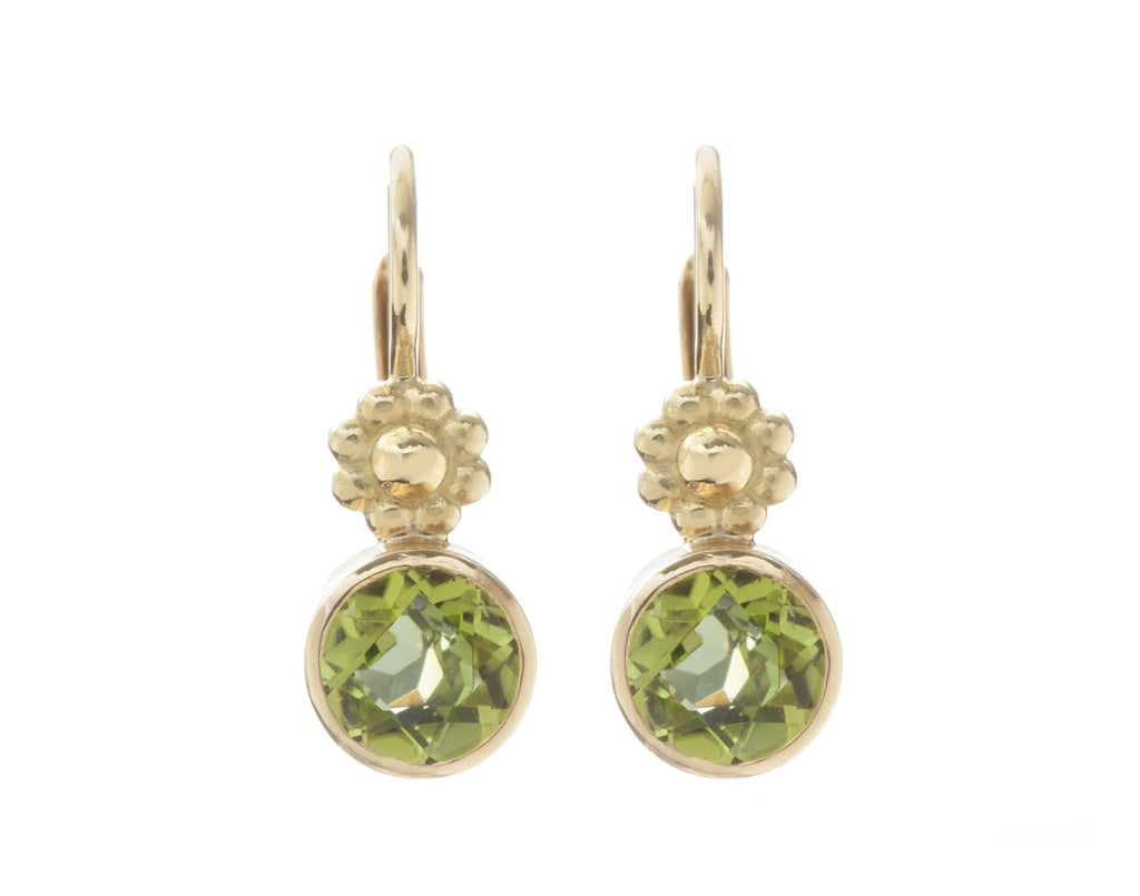 Peridot Rosette Lever Back Earrings