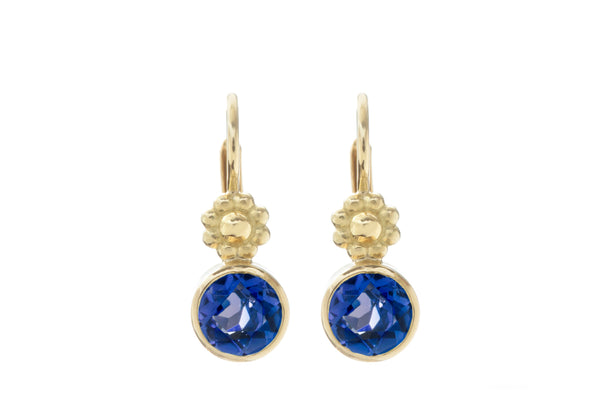 Sapphire Rosette Lever Back Earrings