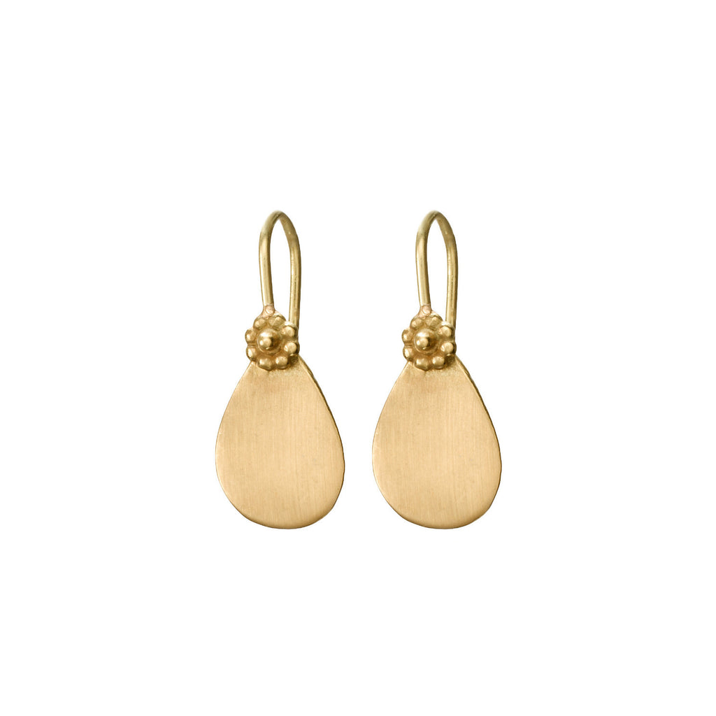 Yellow Gold Satin Tear Drop Earrings