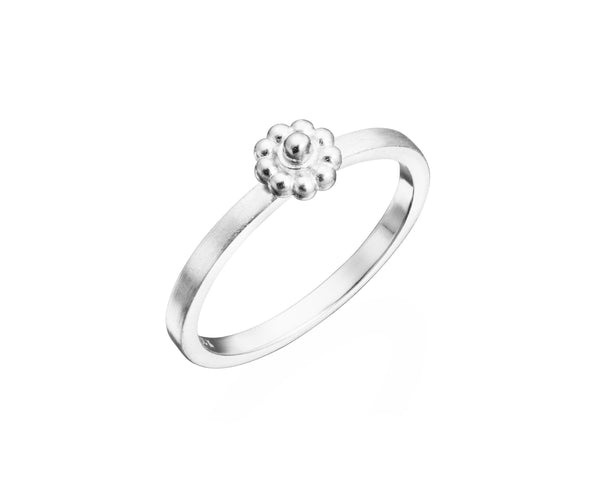 White Gold Slim Rosette Ring