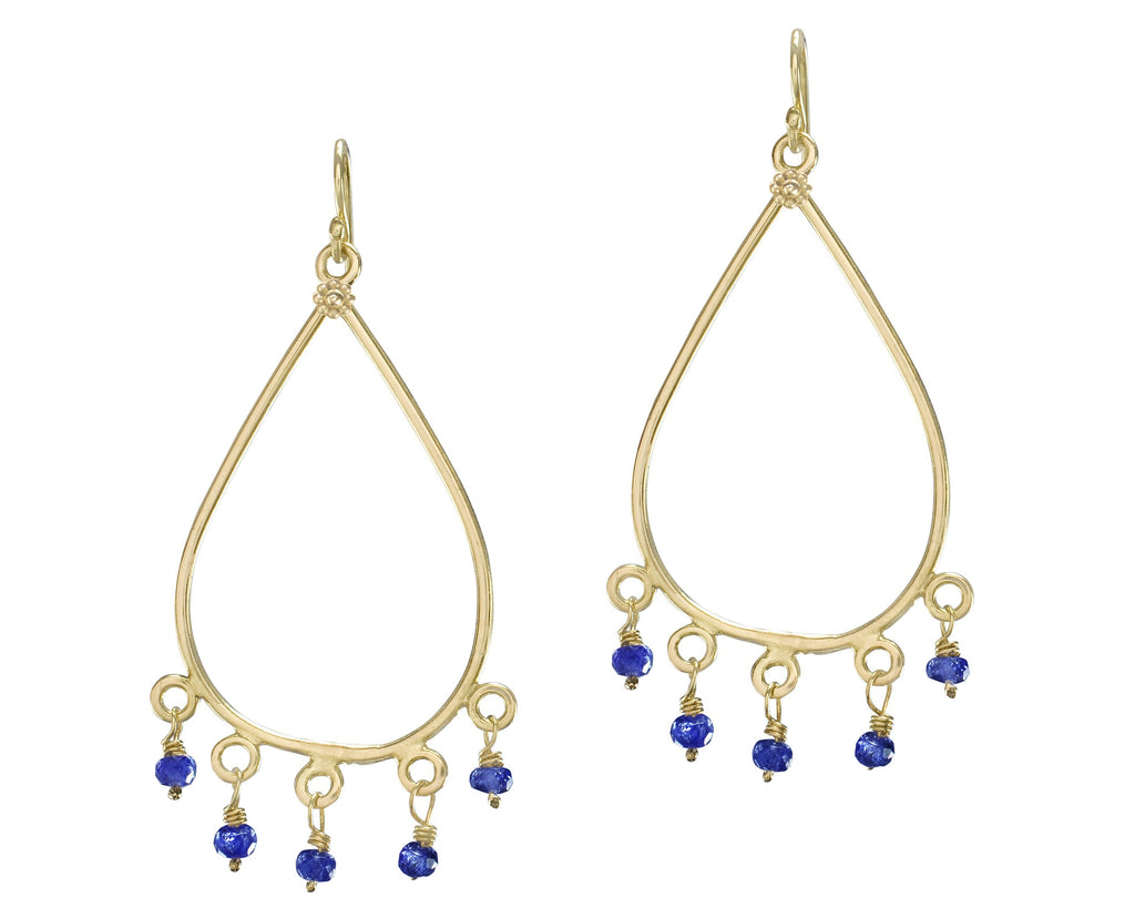 Blue Sapphire & Yellow Gold Taj Earrings
