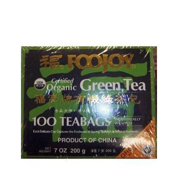 Foojoy Certified Organic Green Tea 100 Tea Bags 7 oz. (Pack of 1)