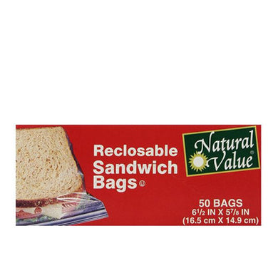 Natural Value Reclosable Sandwich Bags 50 count (a)