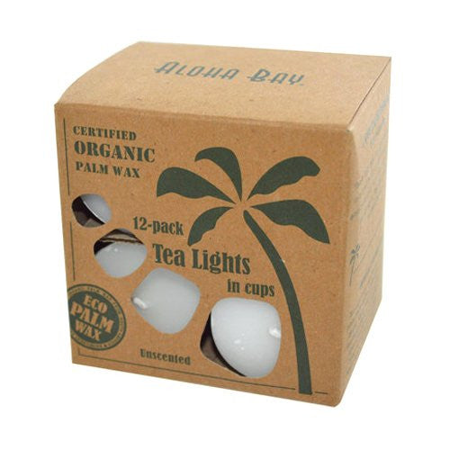 Aloha Bay Palm Wax Tea Lights with Aluminum Holder Candles, 7 Ounce