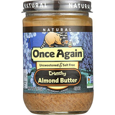 Once Again Natural Almond Butter, Crunchy Roasted, Unsweetened&Salt Free, 16 Oz