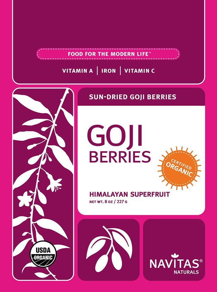 Navitas Naturals Organic Goji Berries, 8-Ounce Pouches (Pack of 2)